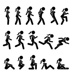 basic woman walk and run actions and movements vector image