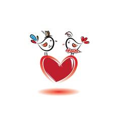 Birds with love valentine day vector
