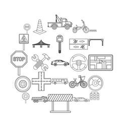 Bitumen icons set outline style vector