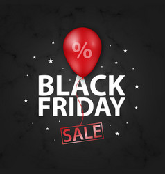 black friday sale banner with shiny red balloon vector image