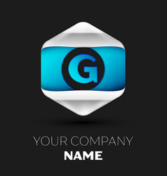 blue letter g logo in the silver-blue hexagonal vector image