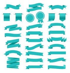 blue retro paper white ribbons set vector image