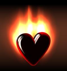 Burning black heart vector image