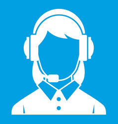 business woman with headset icon white vector image