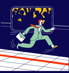 Businessman with briefcase in hand running along vector