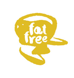Calligraphy fat free label on a scribble vector