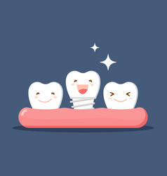 Cartoon white teeth happy with denture or vector