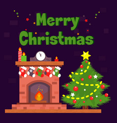 christmas card with fireplace and christmas socks vector image