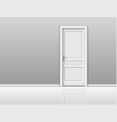 Closed white door in a white room vector