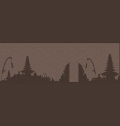 Coffee colors bali temples silhouettes on doodle vector