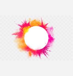 color splash holi powder paints round dye border vector image