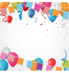 Colorful birthday balloon with bunting flags vector