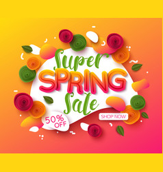 colorful spring sale background with paper cut vector image