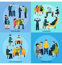 Counseling Support 4 Flat Icons Square vector image