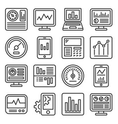 dashboard with graphs and charts icons set line vector image