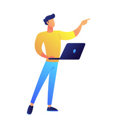 Developer standing with laptop and pointing with vector