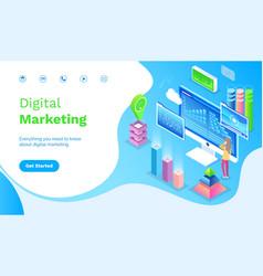 digital marketing information landing page vector image