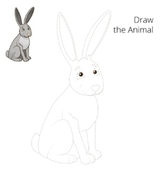 Draw forest animal hare cartoon vector