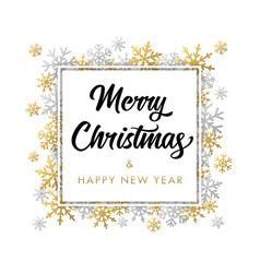 elegant calligraphy merry christmas in frame vector image