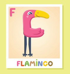 f is for flamingo letter f flamingo cute vector image