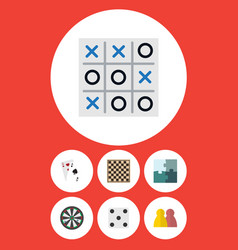 flat icon play set of ace jigsaw people and vector image