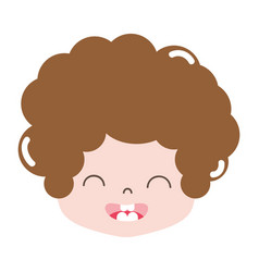 Full color boy head with curly hair and smile face vector