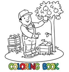 Funy farmer or gardener with apples Coloring book vector