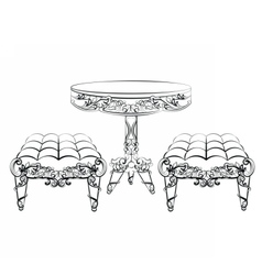 Furniture in classic rococo style vector