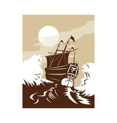 galleon sailing ship at sea vector image