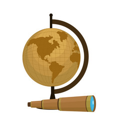 global map desk with monocular object vector image