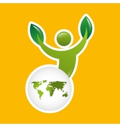 global world environment person silhouette vector image