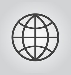 globe icon flat on gray background vector image