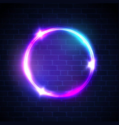 glowing circle with neon lights on dark brick wall vector image