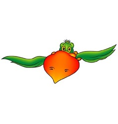 Green Flying Parrot vector image