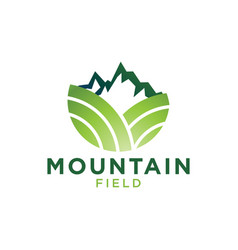 green mountain and field logo design template vector image