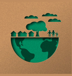 Green world papercut concept with eco city vector