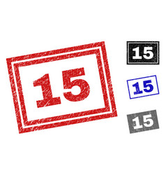 grunge 15 scratched rectangle stamp seals vector image