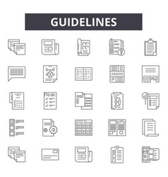 Guidelines line icons signs set linear vector