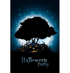 Halloween Background with Pumpkin and Tree vector image
