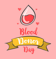 Hand draw blood donor day banner vector