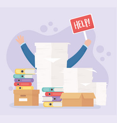 Hands help paperwork boxes office work stress vector