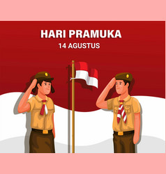 Hari pramuka indonesian scouting day 14th august vector