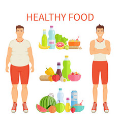 Healthy food poster and icons vector