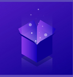 isometric open box neon vector image