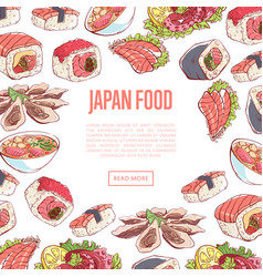 japanese food poster with asian cuisine dishes vector image