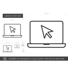 Laptop cursor line icon vector