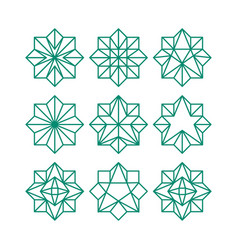 line art geometric abstract star icon collection vector image