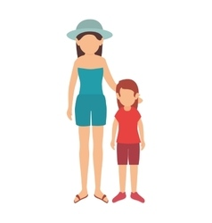 little girl and woman vector image