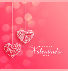 lovely decorative hearts on pink bokeh background vector image
