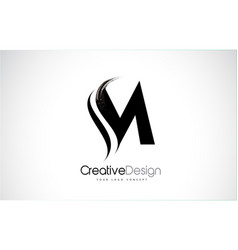 M letter design brush paint stroke vector